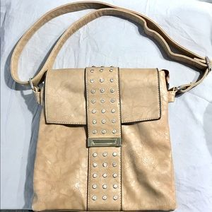 Studded Biege MG Collection Satchel